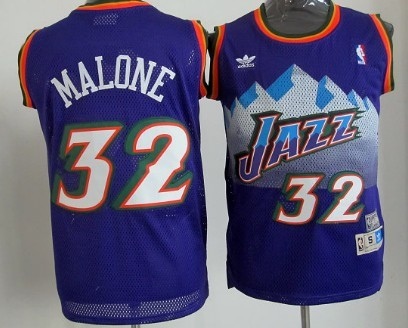 15194fbe Utah Jazz #32 Karl Malone Mountain Purple Hardwood Classics Soul Swingman  Throwback Jersey