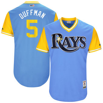 Men's Tampa Bay Rays Matt Duffy Duffman Majestic Light Blue 2017 Players Weekend Authentic Jersey