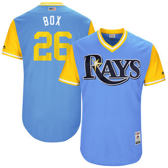 Men's Tampa Bay Rays Brad Boxberger Box Majestic Light Blue 2017 Players Weekend Authentic Jersey