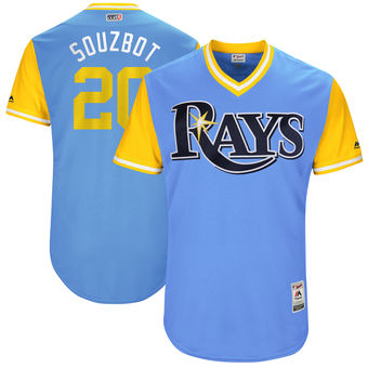 Men's Tampa Bay Rays Steven Souza Jr. Souzbot Majestic Light Blue 2017 Players Weekend Authentic Jersey