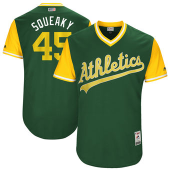 Men's Oakland Athletics Jharel Cotton Squeaky Majestic Green 2017 Players Weekend Authentic Jersey