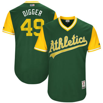 Men's Oakland Athletics Kendall Graveman Digger Majestic Green 2017 Players Weekend Authentic Jersey
