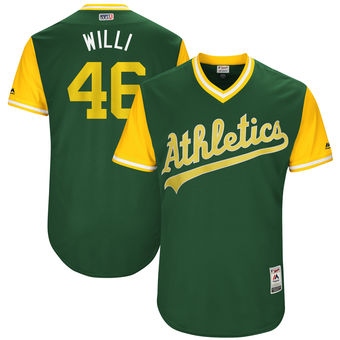 Men's Oakland Athletics Santiago Casilla Willi Majestic Green 2017 Players Weekend Authentic Jersey