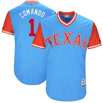 Men's Texas Rangers Elvis Andrus Comando Majestic Light Blue 2017 Players Weekend Authentic Jersey