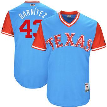 Men's Texas Rangers Tony Barnette Barnítez Majestic Light Blue 2017 Players Weekend Authentic Jersey