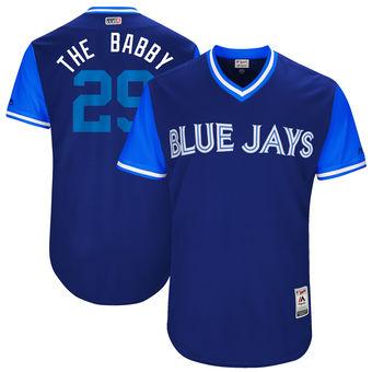 Men's Toronto Blue Jays Devon Travis The Babby Majestic Royal 2017 Players Weekend Authentic Jersey