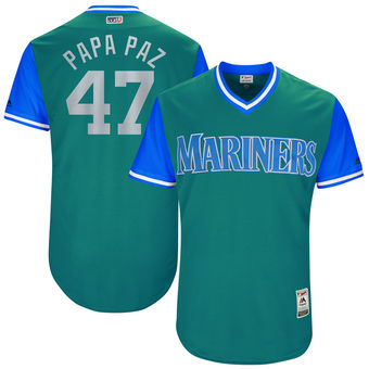 Men's Seattle Mariners James Pazos Papa Paz Majestic Aqua 2017 Players Weekend Authentic Jersey
