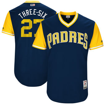 Men's San Diego Padres Jered Weaver Three-Six Majestic Navy 2017 Players Weekend Authentic Jersey