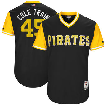 Men's Pittsburgh Pirates Gerrit Cole Cole Train Majestic Black 2017 Players Weekend Authentic Jersey
