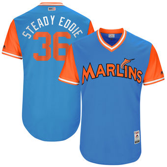 Men's Miami Marlins Edinson Volquez Steady Eddie Majestic Blue 2017 Players Weekend Authentic Jersey