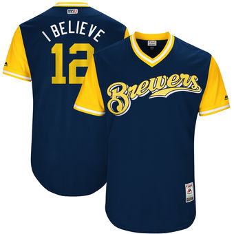 Men's Milwaukee Brewers Stephen Vogt I Believe Majestic Navy 2017 Players Weekend Authentic Jersey