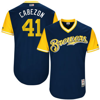 Men's Milwaukee Brewers Junior Guerra Cabezon Majestic Navy 2017 Players Weekend Authentic Jersey