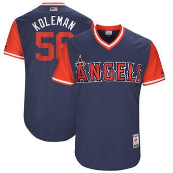 Men's Los Angeles Angels Kole Calhoun Koleman Majestic Navy 2017 Players Weekend Authentic Jersey