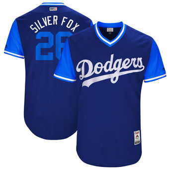 Men's Los Angeles Dodgers Chase Utley Silver Fox Majestic Royal 2017 Players Weekend Authentic Jersey