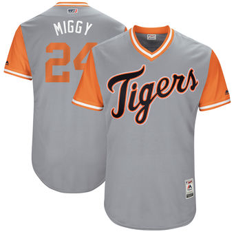 Men's Detroit Tigers Miguel Cabrera Miggy Majestic Gray 2017 Players Weekend Authentic Jersey