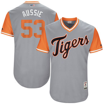 Men's Detroit Tigers Warwick Saupold Aussie Majestic Gray 2017 Players Weekend Authentic Jersey
