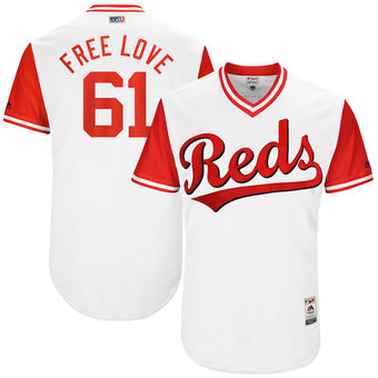 Men's Cincinnati Reds Bronson Arroyo Free Love Majestic White 2017 Players Weekend Authentic Jersey