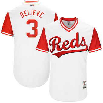 Men's Cincinnati Reds Patrick Kivlehan Believe Majestic White 2017 Players Weekend Authentic Jersey