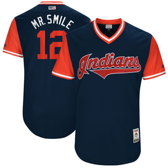 Men's Cleveland Indians Francisco Lindor Mr. Smile Majestic Navy 2017 Players Weekend Authentic Jersey