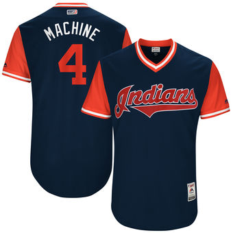 Men's Cleveland Indians Bradley Zimmer Machine Majestic Navy 2017 Players Weekend Authentic Jersey