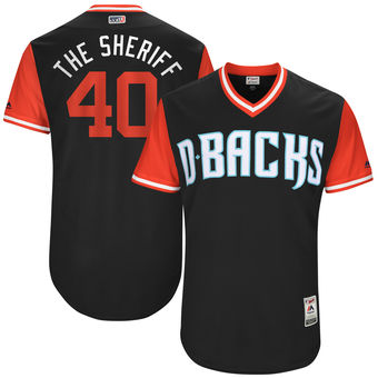 Men's Arizona Diamondbacks Andrew Chafin The Sheriff Majestic Black 2017 Players Weekend Authentic Jersey