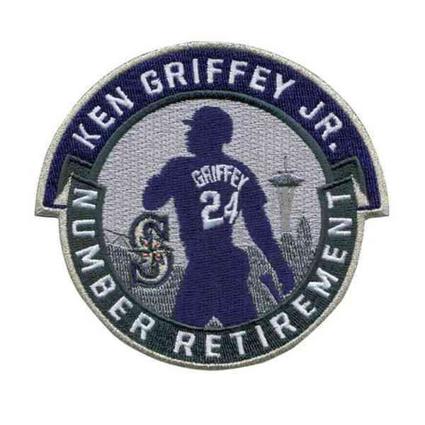 2017 Seattle Mariners 24 Ken Griffey Jr. Retirement Patch Navy Teal