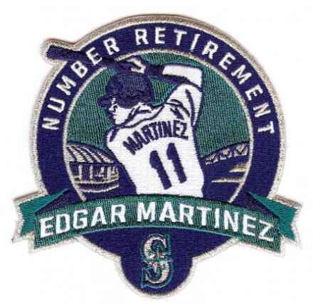 2017 Seattle Mariners 11 Edgar Martinez Retirement Patch Navy Teal