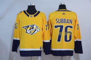 Men s Nashville Predators  76 P. K. Subban Yellow 2017-2018 adidas Hockey  Stitched NHL Jersey 77c511b22