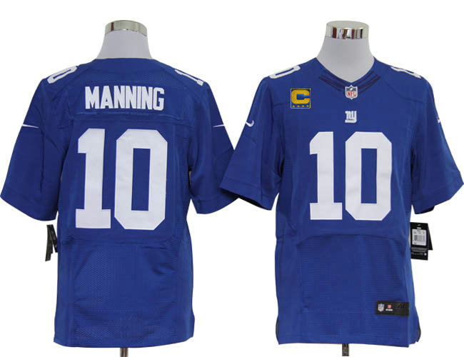 Size 60 4XL-2012 Eli Manning New York Giants #10 Blue Stitched Nike Elite NFL Jerseys C Patch