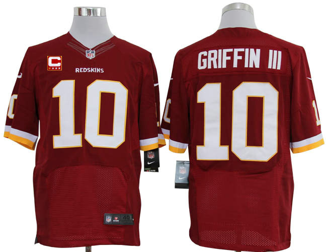 Size 60 4XL-2012 Robert Griffin III Washington Redskins #10 Red Stitched Nike Elite NFL Jerseys C Patch