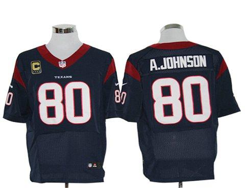 Size 60 4XL-Andre Johnson Houston Texans #80 C Patch Navy Blue Stitched Nike Elite NFL Jerseys