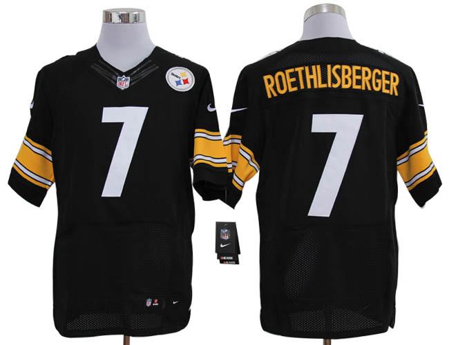 Size 60 4XL-Ben Roethlisberger Pittsburgh Steelers #7 Black Stitched Nike Elite NFL Jerseys