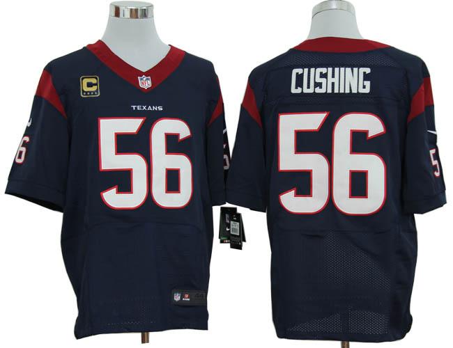 Size 60 4XL-Brian Cushing Houston Texans #56 C Patch Navy Blue Stitched Nike Elite NFL Jerseys