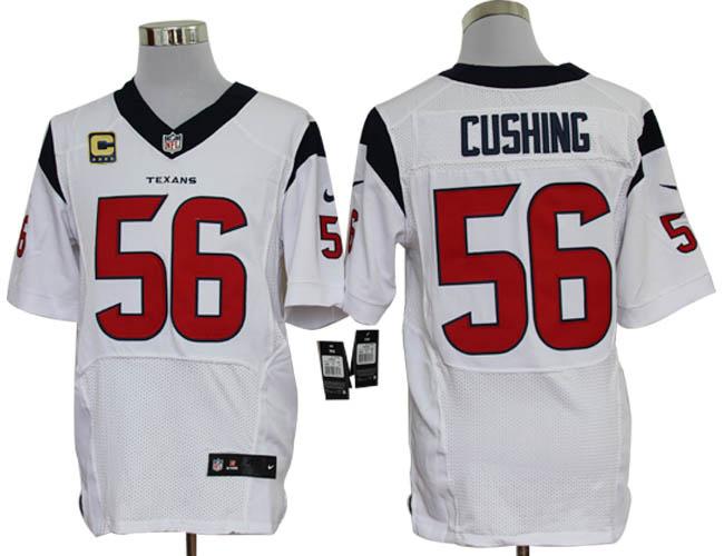 Size 60 4XL-Brian Cushing Houston Texans #56 C Patch White Stitched Nike Elite NFL Jerseys