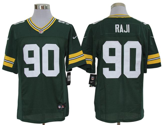 Size 60 4XL-B.J. Raji Green Bay Packers #90 Green Stitched Nike Elite NFL Jerseys