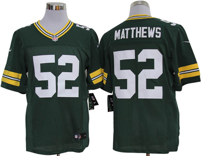 Size 60 4XL-Clay Matthews Green Bay Packers #52 Green Stitched Nike Elite NFL Jerseys