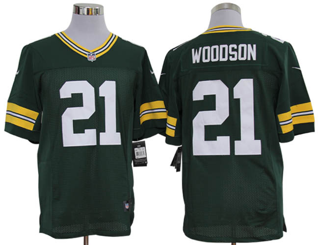 Size 60 4XL-Charles Woodson Green Bay Packers #21 Green Stitched Nike Elite NFL Jerseys