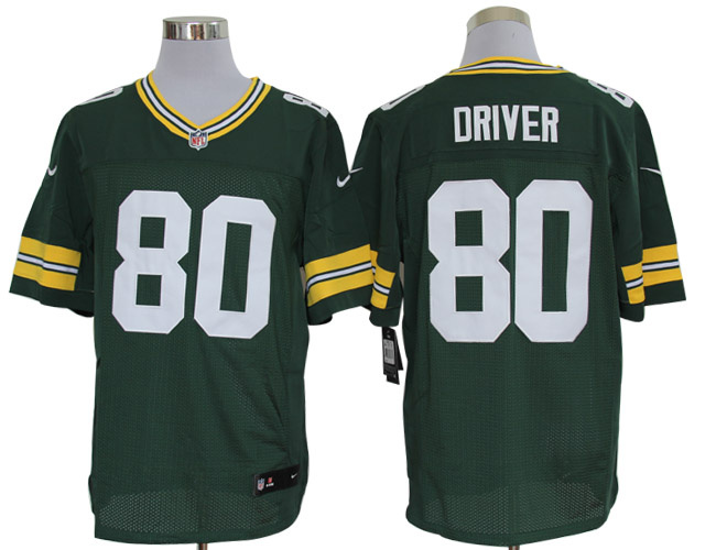 Size 60 4XL-Donald Driver Green Bay Packers #80 Green Stitched Nike Elite NFL Jerseys