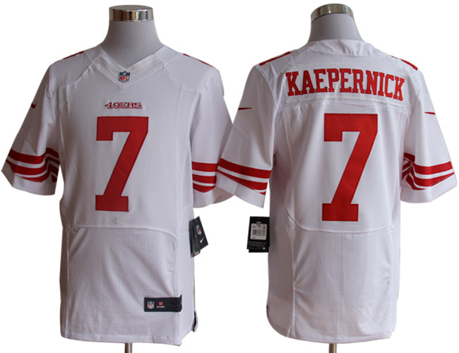 Size 60 4XL-Colin Kaepernick San Francisco 49ers #7 White Stitched Nike Elite NFL Jerseys