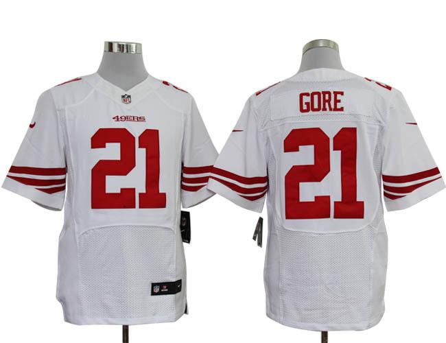 Size 60 4XL-Frank Gore San Francisco 49ers #21 White Stitched Nike Elite NFL Jerseys