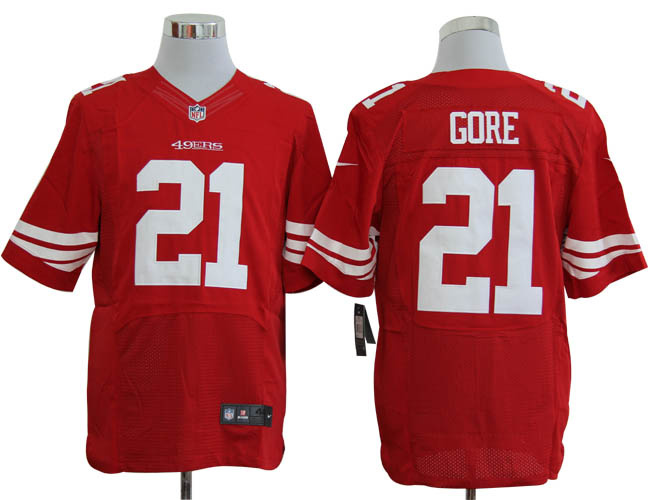 Size 60 4XL-Frank Gore San Francisco 49ers #21 Red Stitched Nike Elite NFL Jerseys