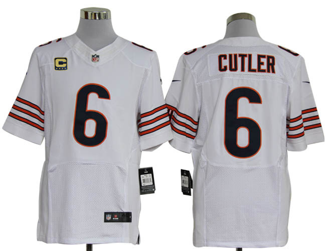 Size 60 4XL-Jay Cutler Chicago Bears #6 C Patch White Stitched Nike Elite NFL Jerseys