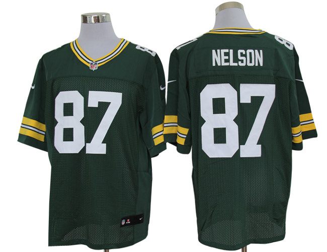 Size 60 4XL-Jordy Nelson Green Bay Packers #87 Green Stitched Nike Elite NFL Jerseys