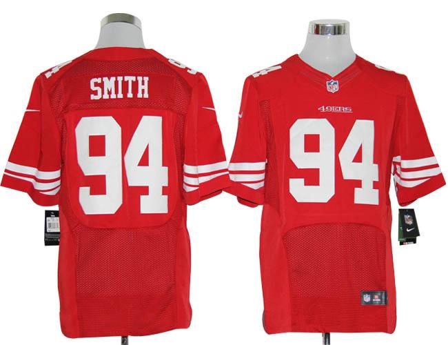 Size 60 4XL-Justin Smith San Francisco 49ers #94 Red Stitched Nike Elite NFL Jerseys