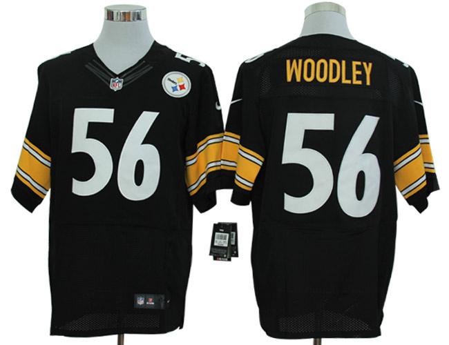 Size 60 4XL-Lamarr Woodley Pittsburgh Steelers #56 Black Stitched Nike Elite NFL Jerseys