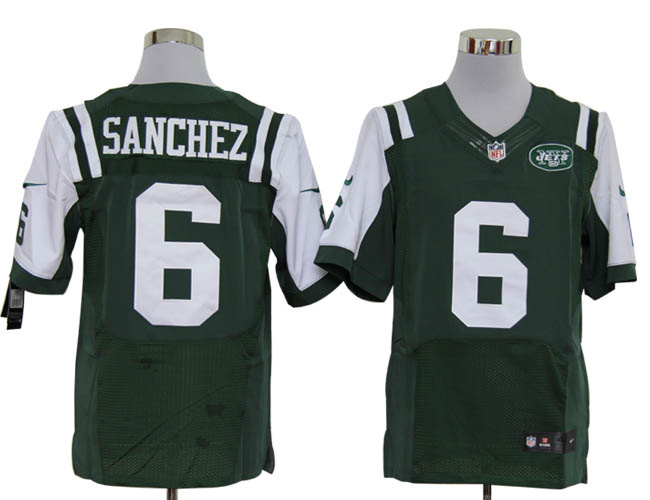Size 60 4XL-Mark Sanchez New York Jets #6 Green Stitched Nike Elite NFL Jerseys