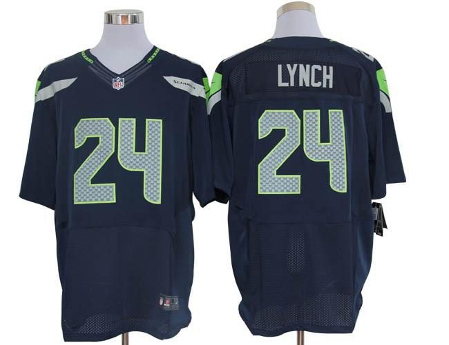 Size 60 4XL-Marshawn Lynch Seattle Seahawks #24 Pacific Blue Stitched Nike Elite NFL Jerseys