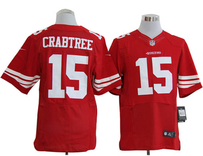 Size 60 4XL-Michael Crabtree San Francisco 49ers #15 Red Stitched Nike Elite NFL Jerseys