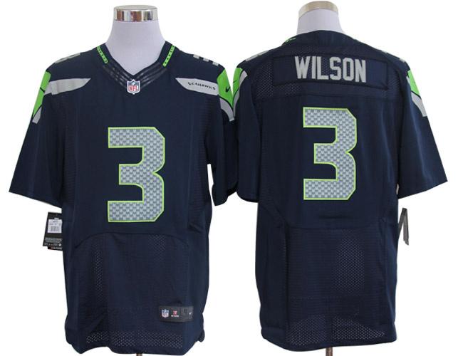 Size 60 4XL-Nike Seattle Seahawks #3 Wilson SeaBlue Colors Elite NFL Jerseys