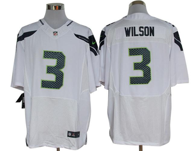 Size 60 4XL-Nike Seattle Seahawks #3 Russell Wilson Elite White NFL Jerseys
